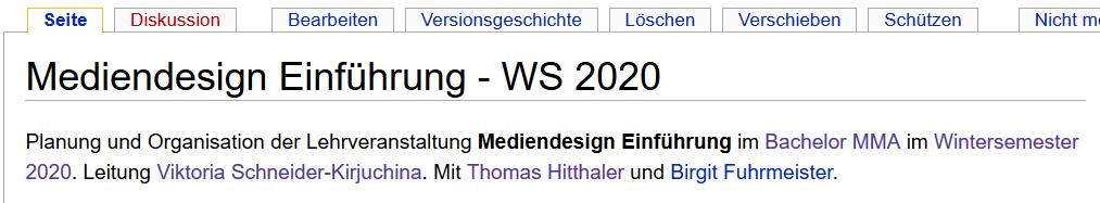 Screenshot aus dem Wiki zeigt Seite einer Lehrveranstaltung